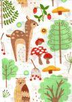 1db-os színes,mintás textil pelenka - erdei barátok