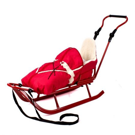 Adbor szánkó bundazsákkal - piros