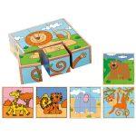 Egzotikus állatok fa kockakirakó játék