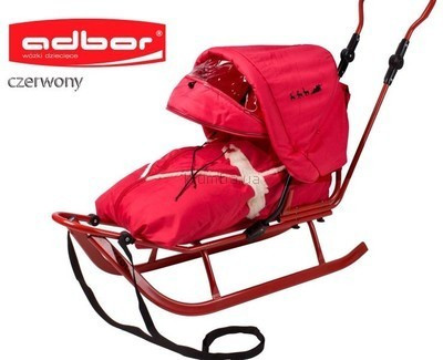 Adbor szánkó bundazsákkal  és kupolával - piros