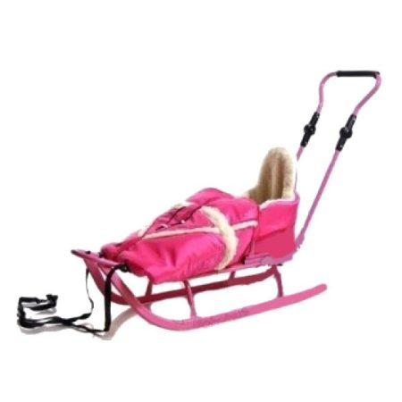Adbor szánkó bundazsákkal - rózsaszín