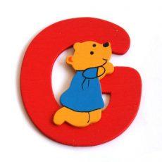 Fa betű G - piros maci