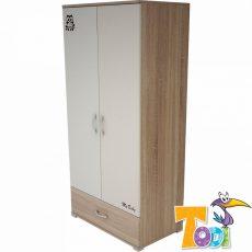 Todi Zoo 2 ajtós + 1 fiókos nagy szekrény - sonoma tölgy/krém
