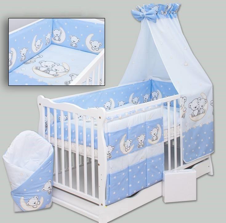 4 részes ágynemű garnitúra - Holdas macik kék - Baby Shop 16aed39b58