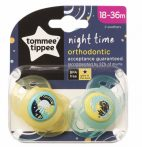 Tommee Tippee Night Time ortodontikus játszócumi 18-36 hó 2 db - sárga/zöld