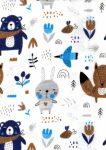 Flanel mintás pelenka - kék erdei barátok