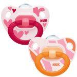 NUK Happy Days szilikon cumi 6-18 hó 2db  rózsaszín/narancssárga