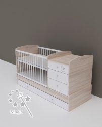 Todi Magic kombi babaágy - szilfa/fényes fehér